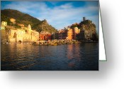 Mountain Vineyards Greeting Cards - Welcome to Vernazza Greeting Card by Doug Sturgess