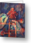 Classical Music Art Greeting Cards - Well Conducted - Painting of Cello Head and Conductors Hands Greeting Card by Susanne Clark