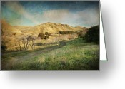 Golden Digital Art Greeting Cards - Well Walk These Hills Together Greeting Card by Laurie Search