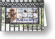 New Orleans Greeting Cards - Well Worn Historic Plaza de Armas Tile Plaque Jackson Square New Orleans Colored Pencil Digital Art Greeting Card by Shawn OBrien