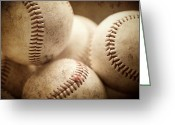 Baseball Art Greeting Cards - Well Worn Greeting Card by Lisa Russo