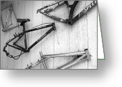 Specialized Mountain Bike Greeting Cards - Well Worn Mountain Bike Frames  Greeting Card by Gray  Artus