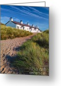 Stone Chimney Greeting Cards - Welsh Cottages Greeting Card by Adrian Evans