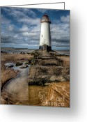Beam Greeting Cards - Welsh Lighthouse  Greeting Card by Adrian Evans
