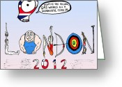 Gymnastics Drawings Greeting Cards - Welsome to the 2012 London Olympics Greeting Card by Yasha Harari