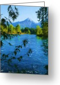 Snow Capped Digital Art Greeting Cards - Wenatchee River Greeting Card by Cindy Wright