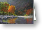 Reflections Pastels Greeting Cards - Wenatchee River Greeting Card by Paula Ann Ford