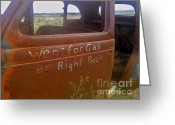 Rusted Cars Greeting Cards - Went For Gas Greeting Card by Juls Adams