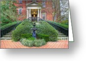 Trees Light Windows Greeting Cards - Wentworth Mansion Entrance  Greeting Card by Drew Castelhano