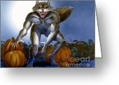 Werewolf Mixed Media Greeting Cards - Werewolf with Pumpkins Greeting Card by Melissa A Benson