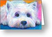 Whimsical Greeting Cards - West Highland Terrier dog painting Greeting Card by Svetlana Novikova