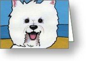 Westie Greeting Cards - West Highland Terrier Greeting Card by Leanne Wilkes