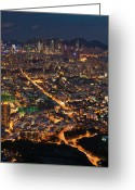 Clear Photo Greeting Cards - West Hongkong At Night Greeting Card by Coolbiere Photograph