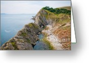 Britain Greeting Cards - WEST LULWORTH LAGOON the natural lagoon behind the jurassic cliffs west of lulworth cove dorset Greeting Card by Andy Smy