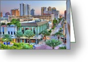 Happy Colors Greeting Cards - West Palm at Twilight Greeting Card by Debra and Dave Vanderlaan