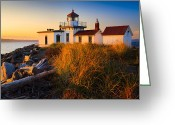 Puget Sound Greeting Cards - West Point Lighthouse Greeting Card by Inge Johnsson