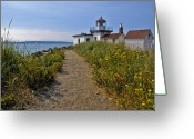Puget Sound Greeting Cards - West Point Lighthouse Greeting Card by Michael Gass