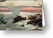 On The Beach Greeting Cards - West Point Prouts Neck Greeting Card by Winslow Homer