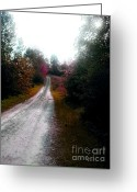 Autumn In The Country Painting Greeting Cards - West Virgina Country Road in the Fall Greeting Card by Vonicia Verton