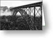 Black Greeting Cards - West Virginia - New River Gorge Bridge Greeting Card by Brendan Reals