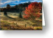Landscape Framed Print Greeting Cards - West Virginia Fall Sunrise I Greeting Card by Dan Carmichael