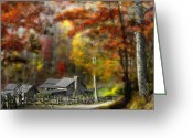 Split Rail Fence Greeting Cards - West Virginia Homeplace Greeting Card by Tony Jack Gayhart