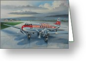 1930s Greeting Cards - Western Airlines DC-3 Greeting Card by Stuart Swartz
