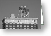 Kansas City Greeting Cards - Western Auto Building of Kansas City Missouri bw Greeting Card by Elizabeth Sullivan