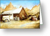 Aquarel Greeting Cards - Western Ghost Town Greeting Card by Peter Art Prints Posters Gallery