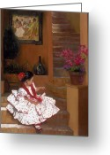 Dress Greeting Cards - Western Grace of Good Cheer    Mexico    from The Three Graces of the West Greeting Card by Anna Bain