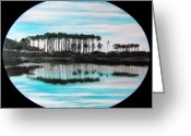 Grayton Beach Greeting Cards - Western Lake Sunset Greeting Card by Racquel Morgan