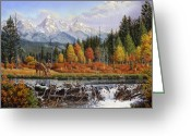 Mountain Landscape Greeting Cards - Western Mountain Landscape Autumn Mountain Man Trapper Beaver Dam Americana Oil Painting orange  Greeting Card by Walt Curlee