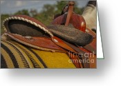 Western Clothing Greeting Cards - Western Saddle Greeting Card by Susan Candelario