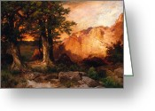 Great Painting Greeting Cards - Western Sunset Greeting Card by Thomas Moran