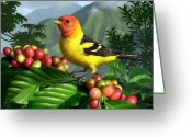 Coffee Beans Greeting Cards - Western Tanager Greeting Card by Jerry LoFaro