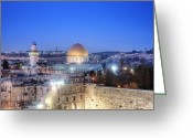 Overhead Greeting Cards - Western Wall and Dome of the Rock Greeting Card by Noam Armonn