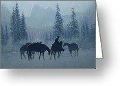 Four Corners Greeting Cards - Western Winter Greeting Card by Randy Follis