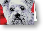 Dream Animal Greeting Cards - Westie Greeting Card by Luis Ludzska