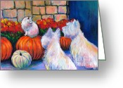 Funny Pet Picture Greeting Cards - Westie West Highland Terriers dogs and cat painting print Pumpkins Greeting Card by Svetlana Novikova
