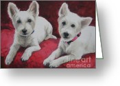 West Highland White Terrier Greeting Cards - Westies Greeting Card by Jindra Noewi