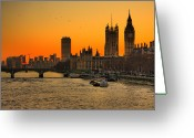 Clock Greeting Cards - Westminster & Big Ben London Greeting Card by Photos By Steve Horsley