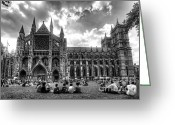 Coronation Greeting Cards - Westminster Abbey mono Greeting Card by Rob Hawkins