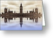 Art Of Building Digital Art Greeting Cards - Westminster on Water Greeting Card by Sharon Lisa Clarke