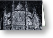 Illuminated Glass Greeting Cards - Westmister Abbey North Transept Greeting Card by Joan Carroll