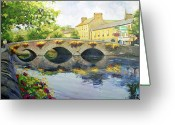 Old Bridge Greeting Cards - Westport Bridge County Mayo Greeting Card by Conor McGuire