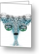 Martians. Greeting Cards - Wet Alien Greeting Card by Christohper Gaston