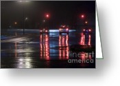Long Street Greeting Cards - Wet Crossroad Greeting Card by Igor Kislev