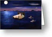 Lunar Greeting Cards - Wet Dreams Greeting Card by Leah Saulnier The Painting Maniac