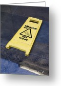 Puddle Greeting Cards - Wet Floor Sign In Puddle Greeting Card by Mark Williamson