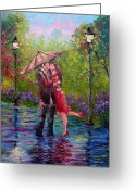 Umbrella Painting Greeting Cards - Wet Kiss Greeting Card by David G Paul